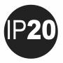 IP 20: (2) - защита от проникновения посторонних предметов диаметром ≥ 12,5 мм; (0) - не защищен от проникновения воды