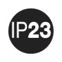 IP 23: Protection against ingress of foreign solid objects ≥ 12,5 mm Ø; against water spraying.